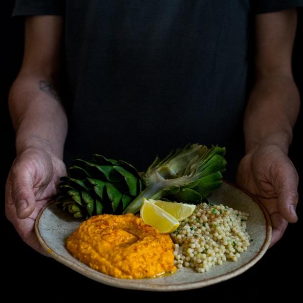 Alcachofas-Hummus